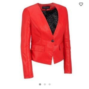 NWT Red Vegan Leather Blazer